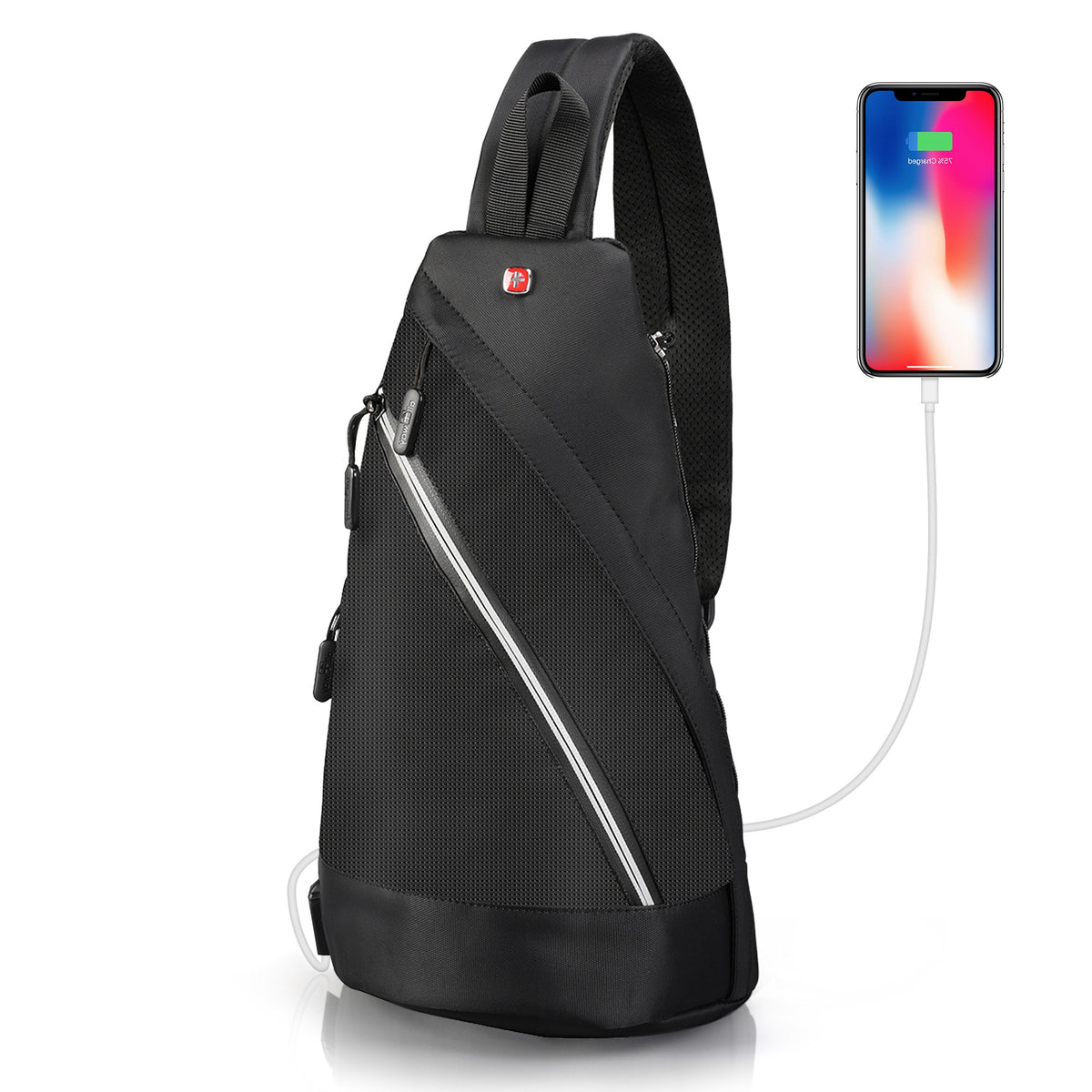 Modern laptop and ipad bag for men and women - crossbody sling backpack with usb charger port. Onestrap antitheft slingbag  with  rfid  pocket and padded computer sleeve. Slim, compact and stylish, perfect for travel, everyday citylife and casual events.