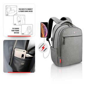 "Business Laptop Backpack for Men & Women SWISS Design with USB 15"", Grey"