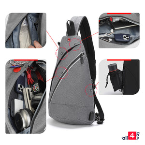 "Crossbody Sling Backpack for iPad 10.2"" - Swiss Design with USB RFID - Grey"