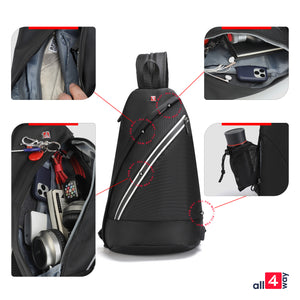 "Crossbody Sling Backpack for iPad 12"" - Swiss Design with USB RFID"