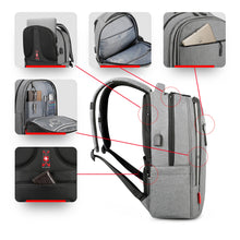 "Load image into Gallery viewer, Business Laptop Backpack for Men & Women SWISS Design with USB 15"", Grey"