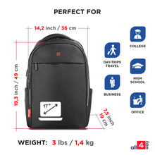 Load image into Gallery viewer, Laptop Backpack for Business & Travel. Men - Women SWISS Design with USB 17""