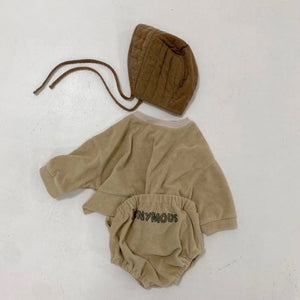 "khaki, terry cloth bloomers imprinted with ""anonymous"" paired with matching sweatshirt and brown quilted bonnet"
