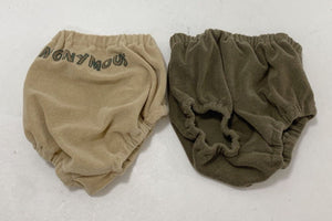 "khaki and olive colored terry cloth bloomers imprinted with ""anonymous"""