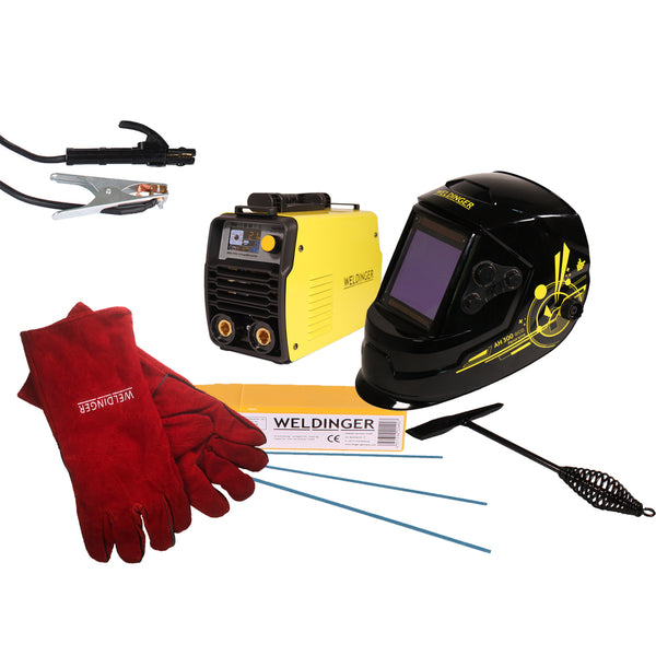 Set Weldinger EW201dig pro inverter digitale+Casco AH300+elettrodi+martello+guanti - Rikushop