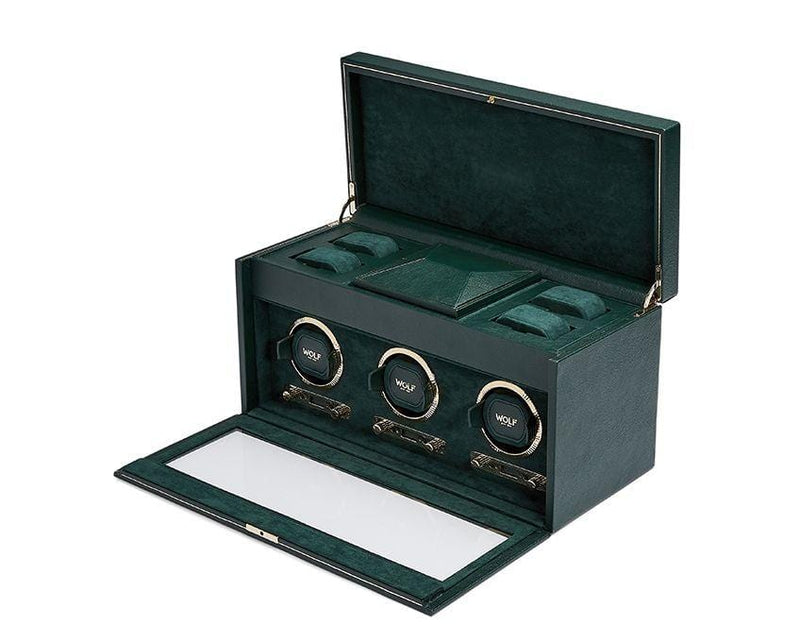 BRITISH RACING GREEN TRIPLE WATCH WINDER
