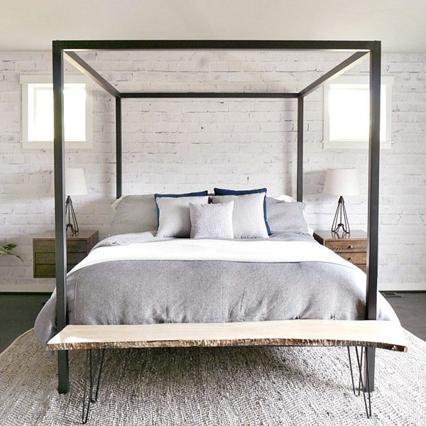 White Washed Brick For A Polished Industrial Bedroom