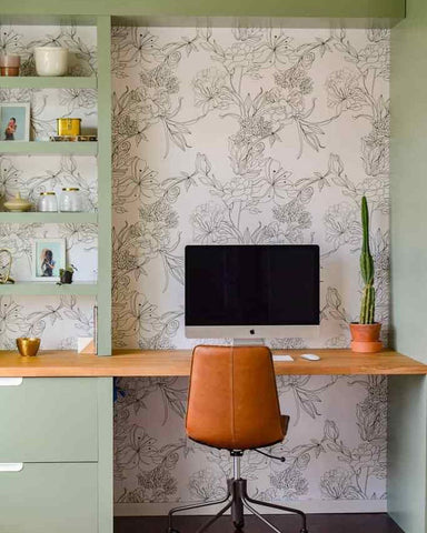 Sage home office desk with a subtle floral peel and stick backdrop