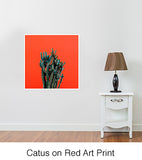 Cactus on Red Art Print