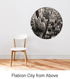 Flat Iron City from Above Circle Wall Decal