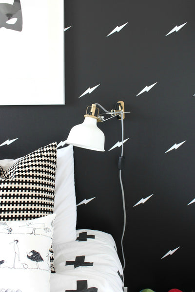 Lightning bolt wall decals by Walls Need Love, featured on The Winthrop Chronicles.