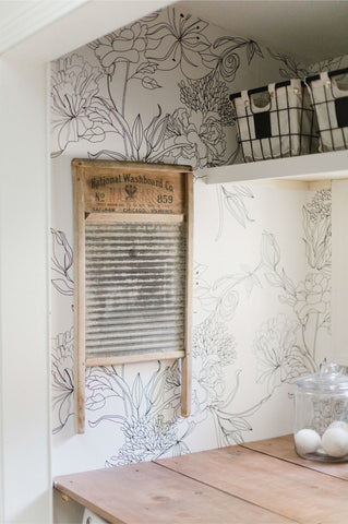 Sketch Floral Wallpaper in Laundry Room