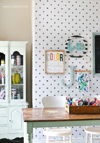 Lolly Jane - Scribble Dots Wallpaper Craft Room