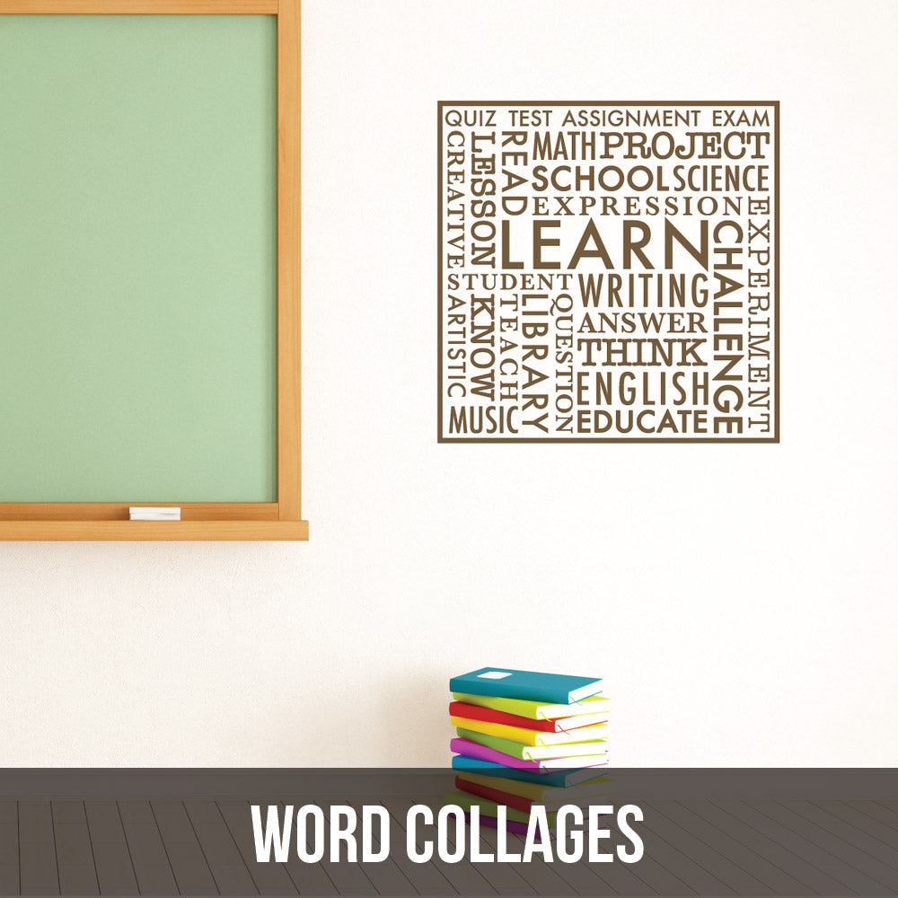 It's like a picture collage...but with words...and as  wall decal!