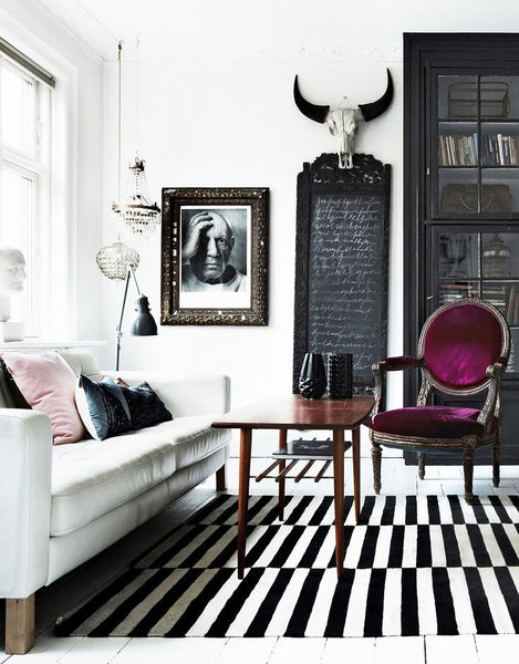 Use Easy Stripes and faux taxidermy for this Scandinavian look.