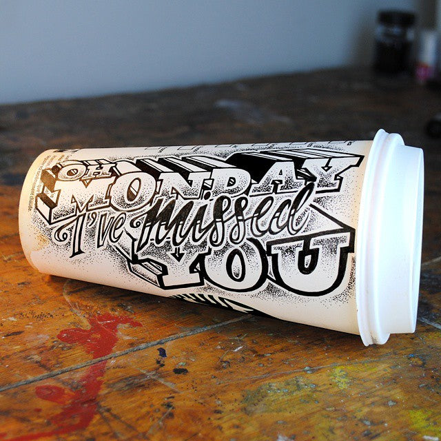 Rob Draper hand lettering on coffee cup
