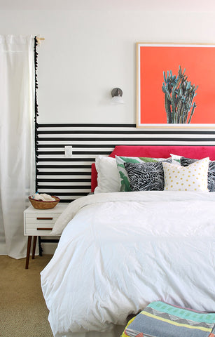 Modern and Colorful Bedroom Makeover with Persia Lou using Easy Stripes by WallsNeedLove