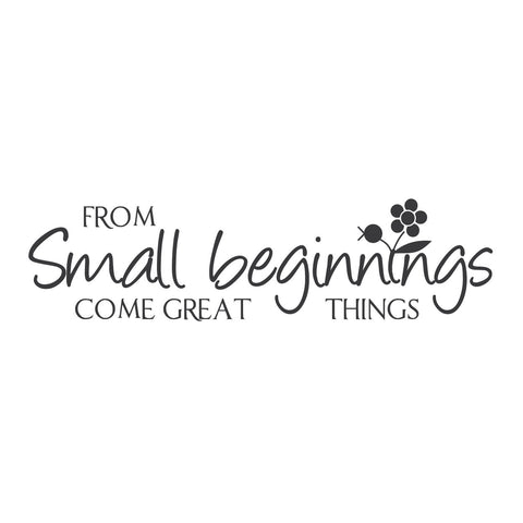 """From Small Beginnings Come Great Things."""