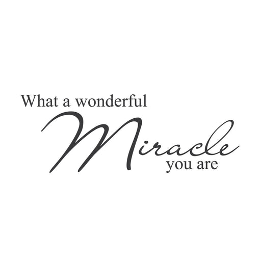 "wall quotes wall decals - ""What a Wonderful Miracle You Are."""