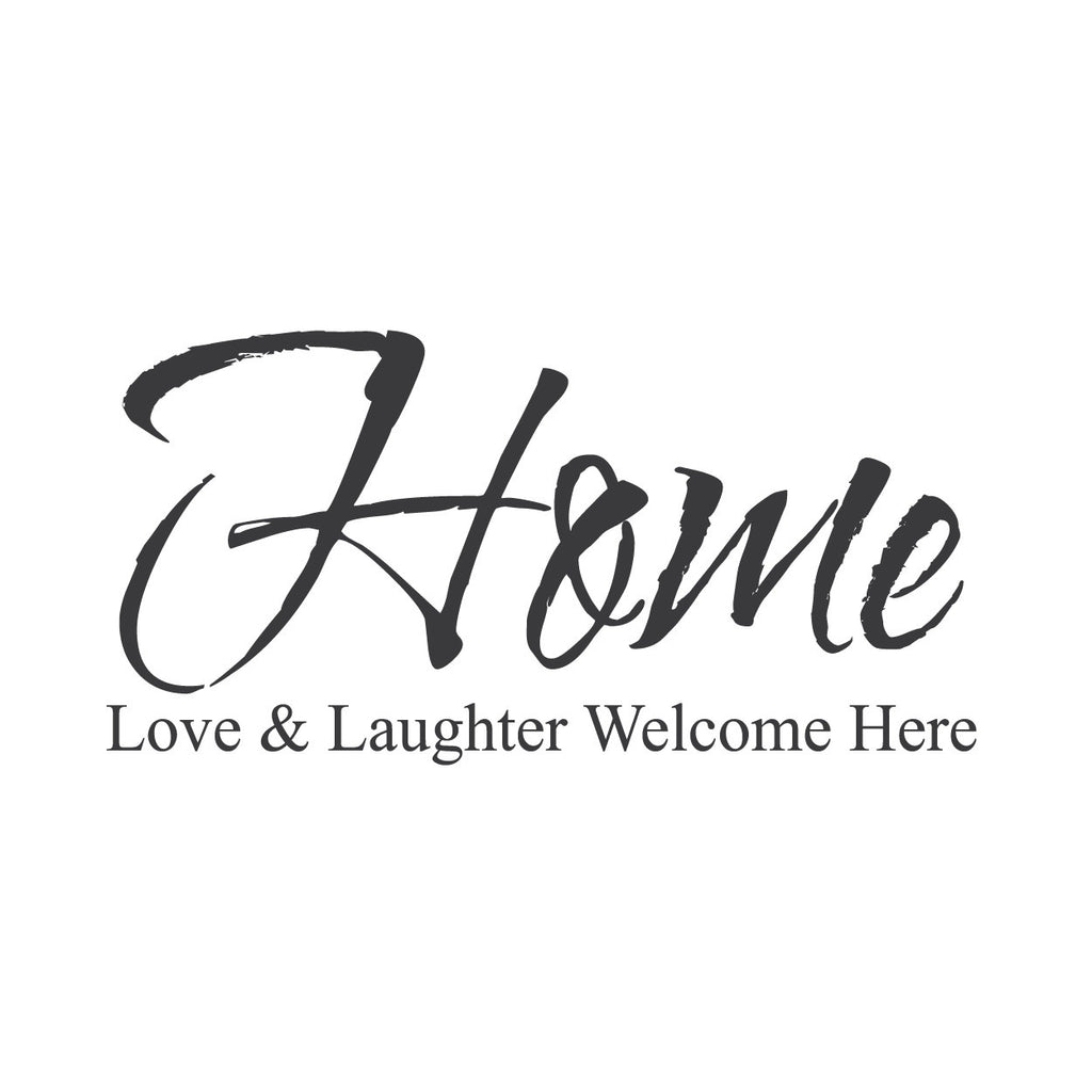 wall quotes wall decals home love and laughter welcome here