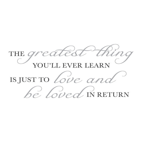 "wall quotes wall decals - ""The greatest thing you'll ever learn is just to love..."""