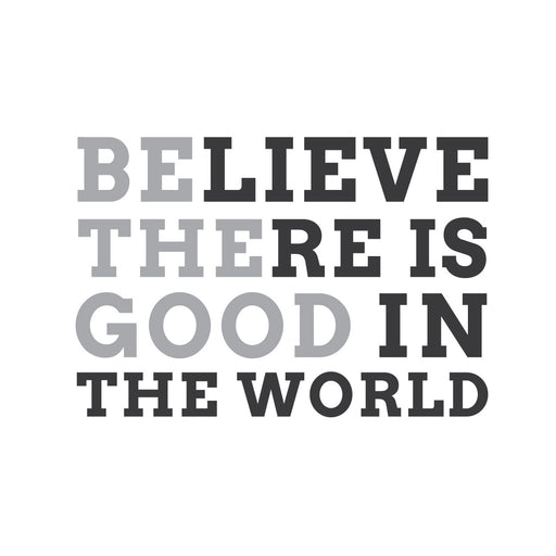 "wall quotes wall decals - ""Believe there is good in the world"" 