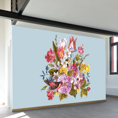Budding Bouquet on Blue Wall Mural