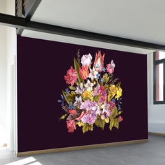 Budding Bouquet on Black Wall Mural