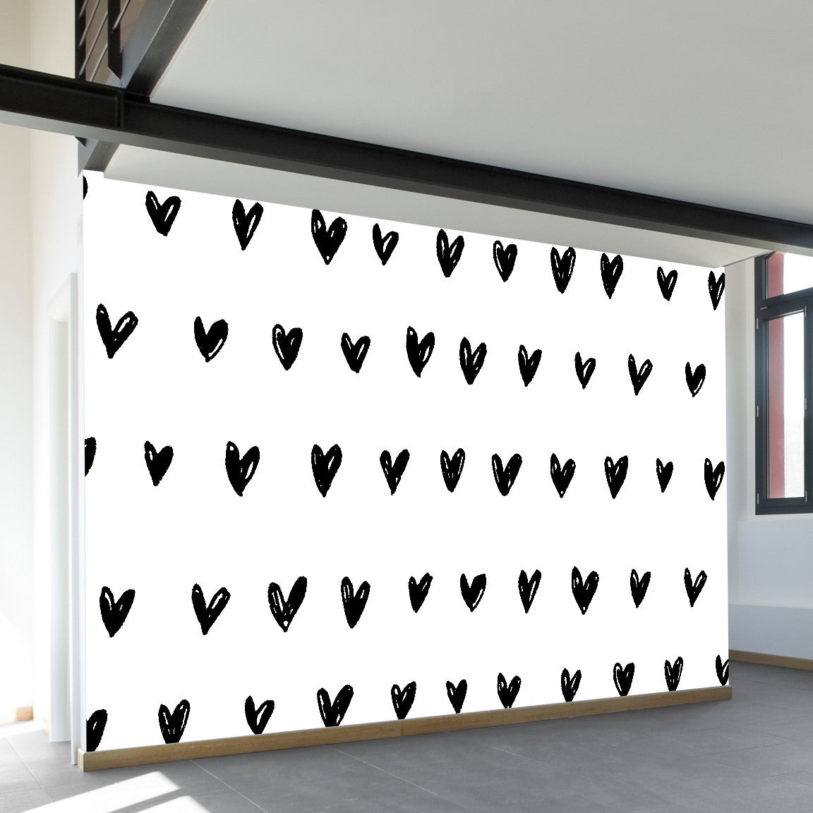 Inked Hearts Wall Mural by Walls Need Loveᄄ
