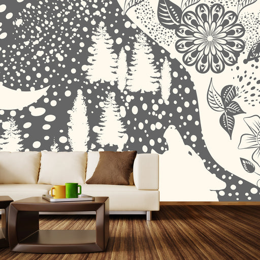 Dark Wild Night White Wall Mural
