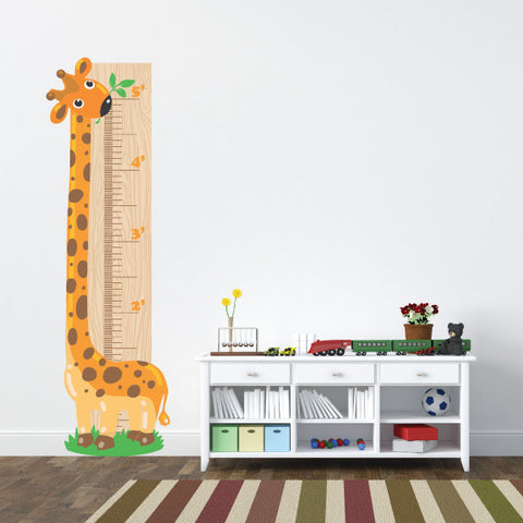 Giraffe Growth Chart Mount wall decal on wall beside shelves!!