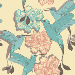 Colibri Birds and Flowers Removable Wallpaper