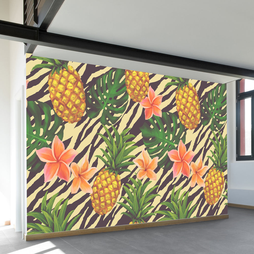 Pineapple on Zebra Wall Mural WallsNeedLove