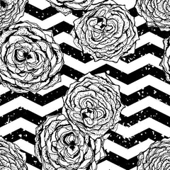 Chevron Hipster Flowers Removable Wallpaper