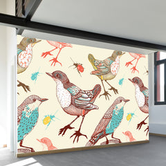 Birds and Beetles Wall Mural