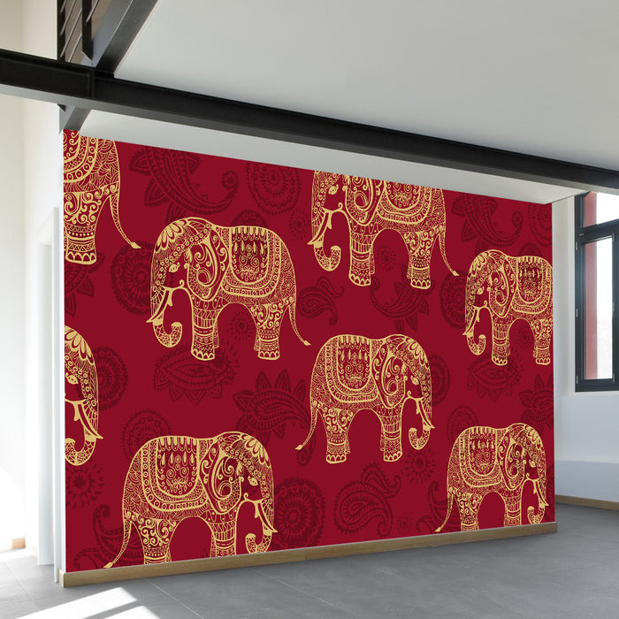 Paisley Elephants Wall Mural by Walls Need Love?