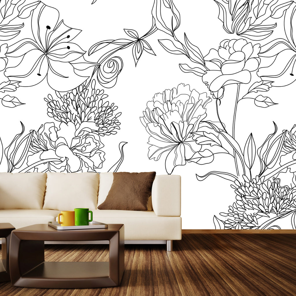 Black And White Floral Pattern Wall Mural Sketch Floral