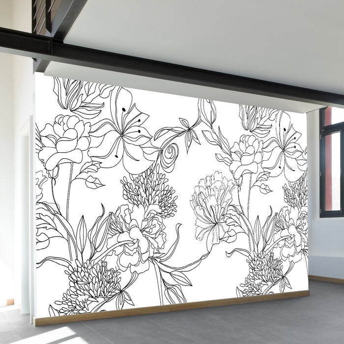 Sketch Floral Wall Mural by Walls Need Love?