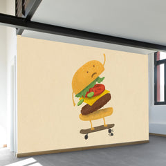 Burger Wipe Out Wall Mural