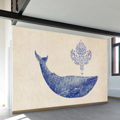 Damask Whale Wall Mural