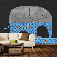 Thirsty Elephant Wall Mural