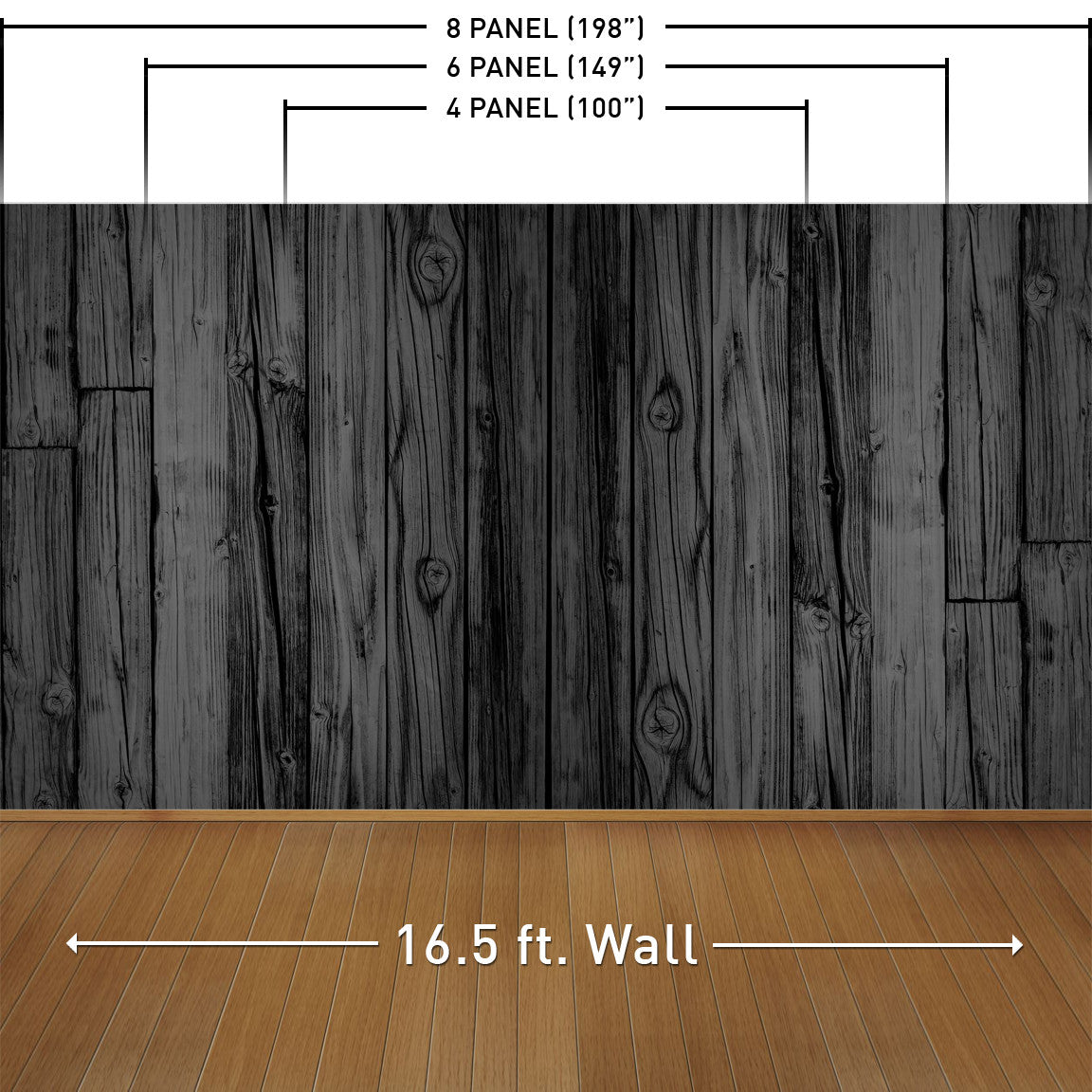 Black Stained Wood Wall Mural