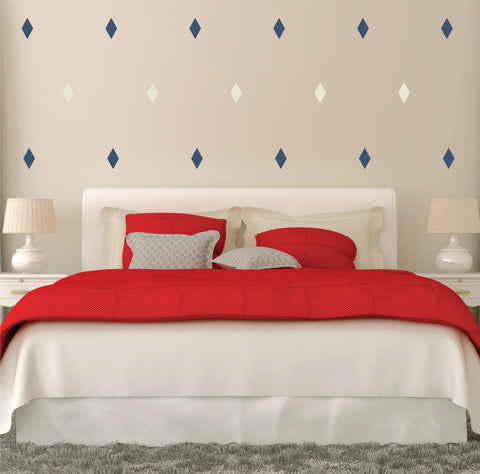 Diamond Mini-Pack Wall Decals behind bed | lifestyle