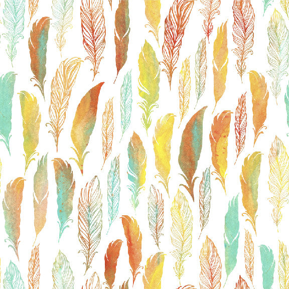 Watercolor Feathers |Removable Wallpaper| WallsNeedLove