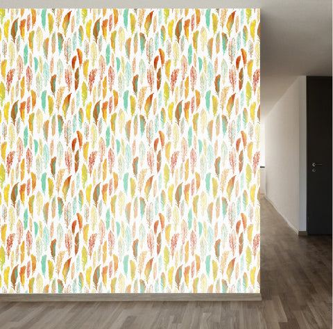 Watercolor Feathers Removable Wallpaper Wallsneedlove