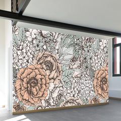 Muted Floral Wall Mural