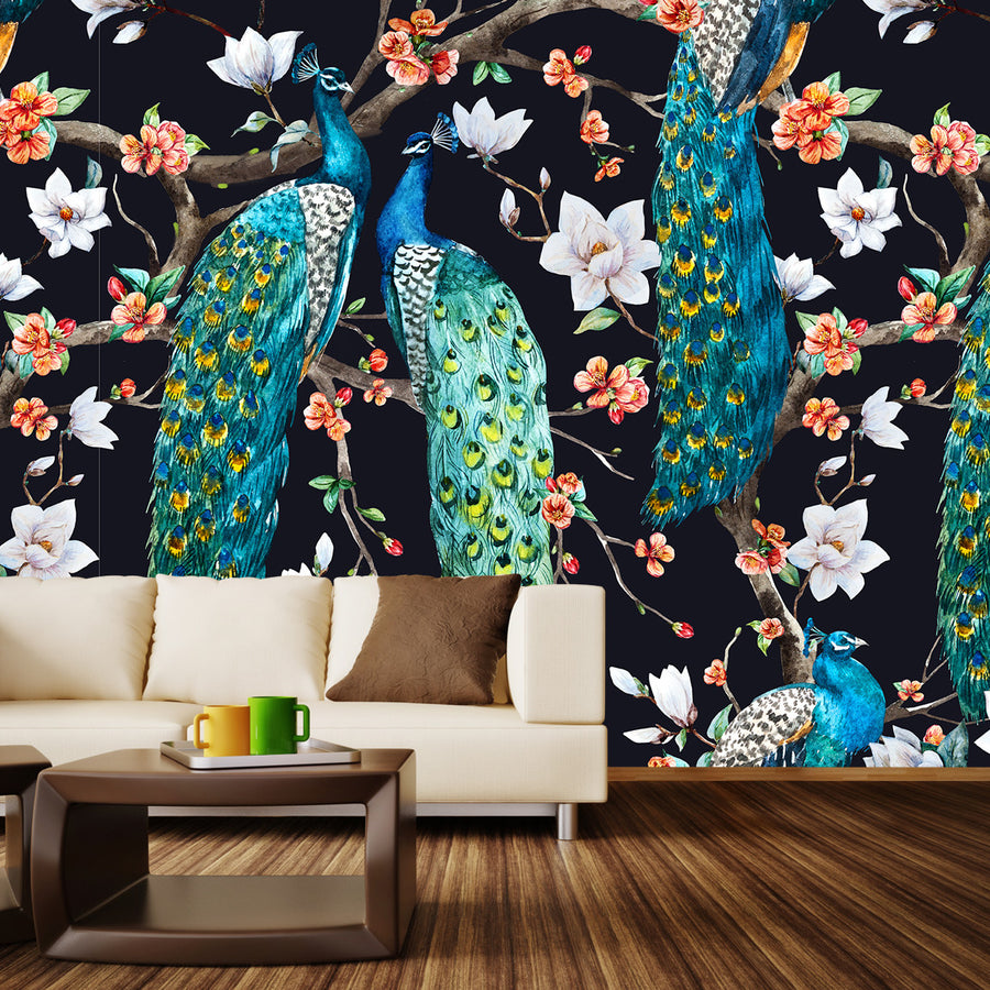 Victorian Peacocks on Black Wall Mural by Walls Need Love�