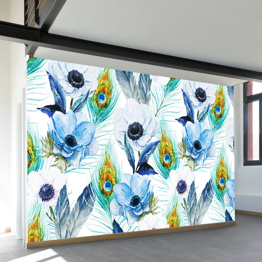 Poppies and Peacocks Wall Mural by Walls Need Loveᄄ
