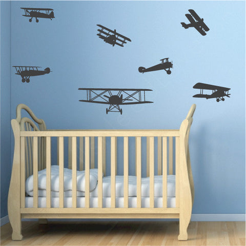 Airplanes nursery wall decals wallsneedlove for Airplane wall mural