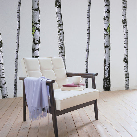 Super real birch trees wall decals wallsneedlove for Birch trees wall mural